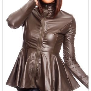 🔥NWOT- Faux Leather Zip up Peplum Waist Top